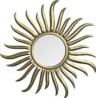 DecorShore Roi Soleil - Hand-Carved & Gilded Wood Sun Wall Sculpture & Mirror - 35 Inch Rococo Style Decorative Art Wall Mirror in Sunburst Shape