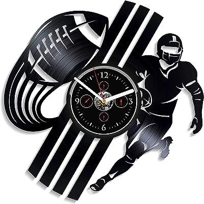 Kovides Rugby Football Wall Clock Sport Clock Vintage Vinyl Record Retro Wall Clock Football Sport Art Rugby Wall Clock 12 Inch Birthday Gift Rugby Football Gift New Year Gift Handmade LP Clock