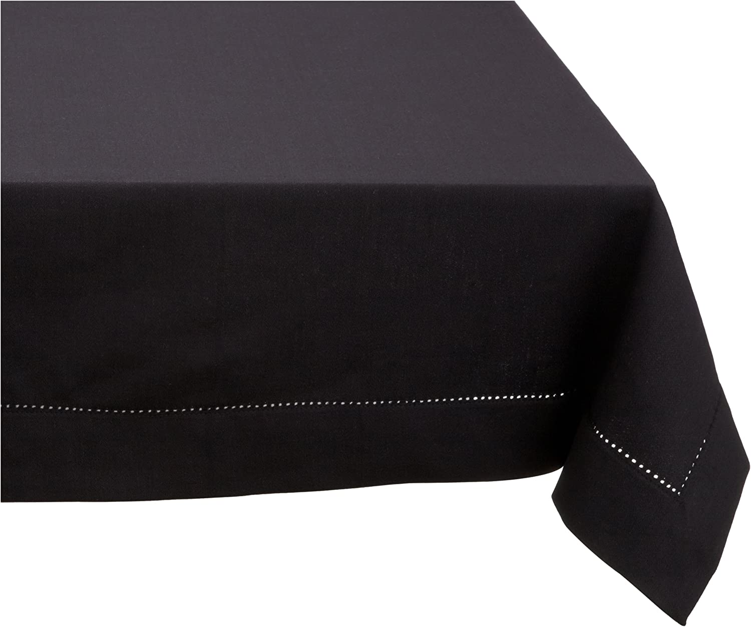 Mahogany Solid-color 100-Percent Cotton Hemstitch Tablecloth, 60-Inch by 120-Inch Rectangle, Black