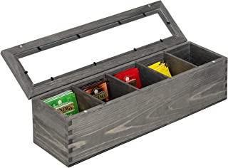 MyGift Rustic Gray Wood 5-Compartment Tea Bag Box with Clear Lid