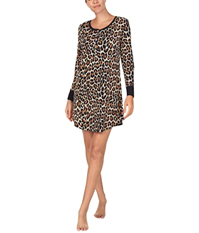 Kate Spade New York Brushed Jersey Long Sleeve Sleepshirt (Leopard) Women