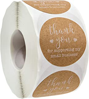 """1.5"""" Round Kraft Thank You for Supporting My Small Business Stickers / 500 Labels Per Roll"""