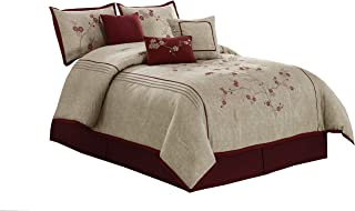 Chezmoi Collection Miki Luxury 7-Piece Red Cherry Blossoms Floral Embroidery Bedding Comforter Set (King, 108