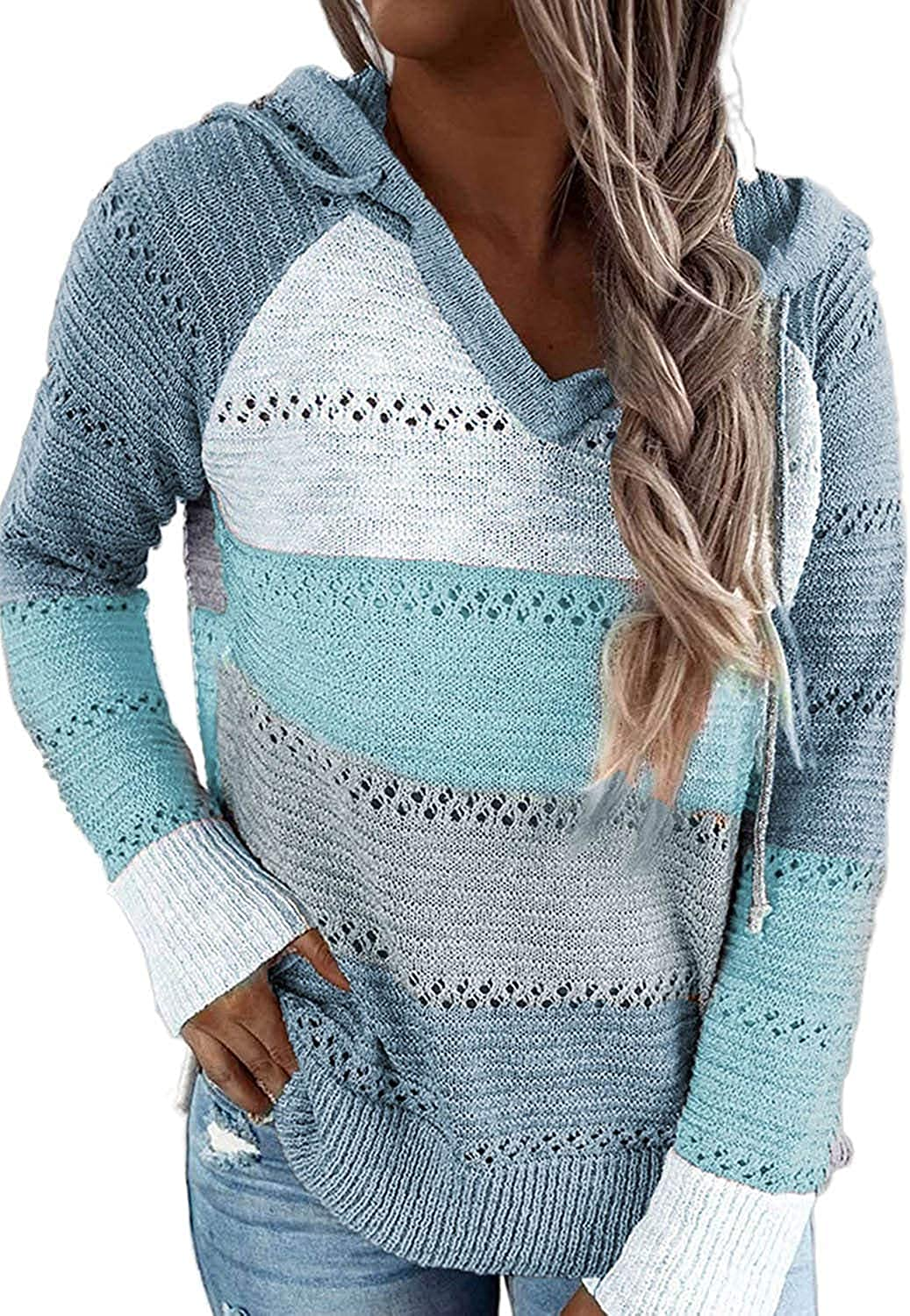 Uusollecy Women's Color Block Sweatshirts Hoodie Long Sleeve Knitted Pullover V-Neck Drawstring Sweater