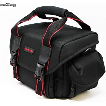 Commander Optics Large Universal DSLR Camera Case Gadget Bag - 11 x 7 x 7 Inches, Black/Red