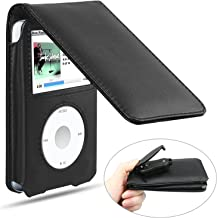 Linkstyle iPod Classic Case with Clip Leather Case with Movable Belt Clip for iPod Classic 80GB/120GB/160GB- Black