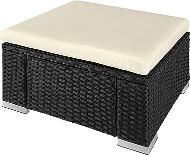 TecTake 800768 Tabouret en Résine Tressée, Tabouret Cube avec Coussin, Repose-Pied d'Extérieur pour Jardin Patio Terrasse