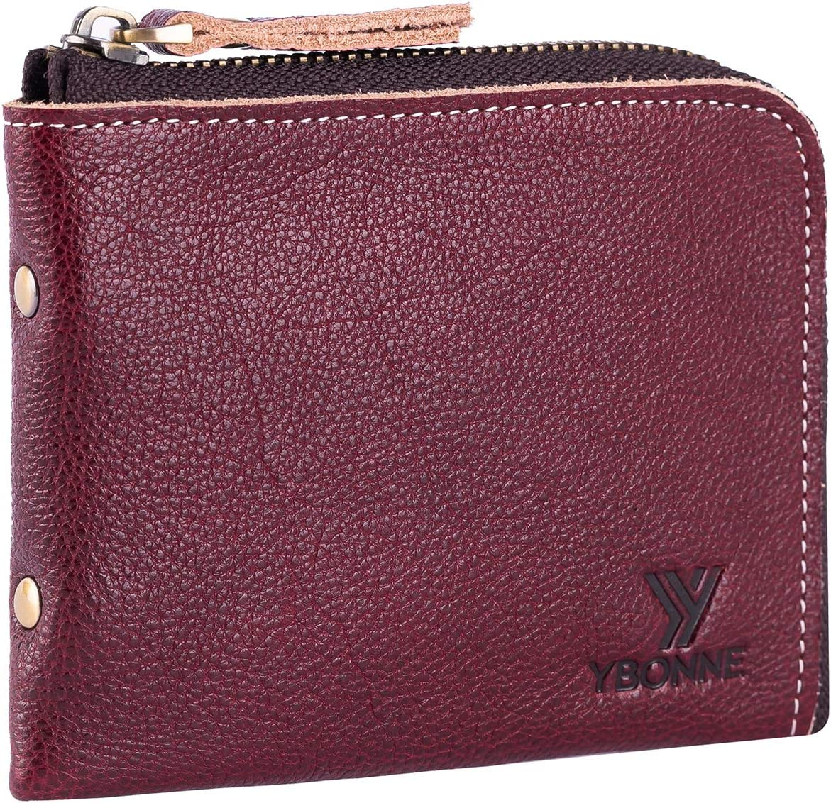 YBONNE Small Mini Corner Zip Wristlet Wallet for Men and Women, Handmade with Italian Vegetable Tanned Leather (Wine Red)