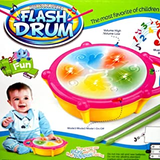 Blossom Flash Drum Toy with 5 Visual 3D Lights, Music, 3 Game Modes for Kids/ Musical Instrument for Kids/ Drum Toy for Kids, Babies, Musical Toy for Kids