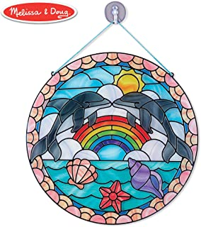 Melissa & Doug Stained Glass Made Easy Activity Kit, Arts and Crafts, Develops Problem Solving Skills, Dolphins, 180+ Stickers