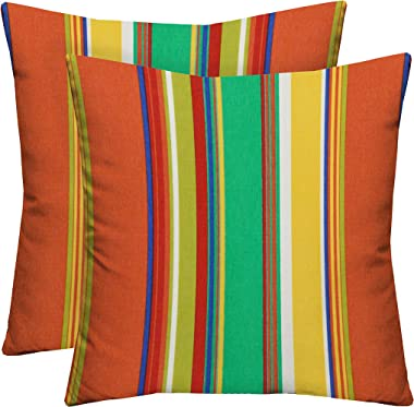 """RSH Décor Set of 2 Indoor Outdoor 17"""" Patio Furniture Square Decorative Throw Toss Pillows Water Resistant - Coral Green Blue"""