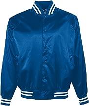 Augusta Sportswear Satin Baseball Jacket/Striped Trim