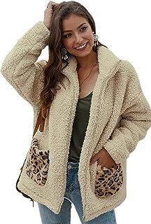 SheIn Chaqueta de piel sintética con capucha para mujer