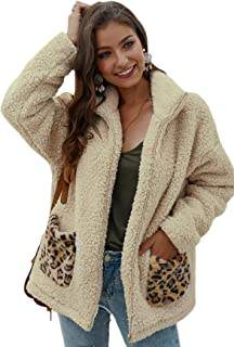 SheIn Women's Fauxs Fur Hooded Teddy Coat Long Sleeve Jacket Outwear