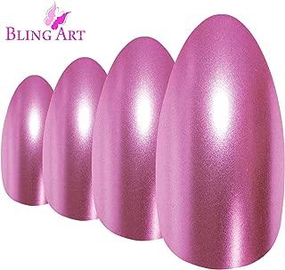 Bling Art Almond False Nails Fake Stiletto Matte Pink Metallic Acrylic 24 Tips