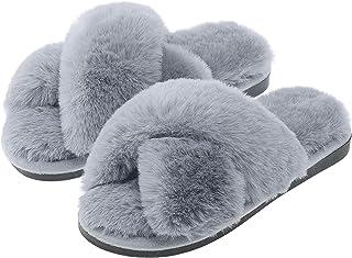 LIBWYS Women's Cross Band Soft Plush Slippers Open Toe Fuzzy Fluffy Furry Fur House Shoes, Memory Foam Anti-Slip Indoor Ou...