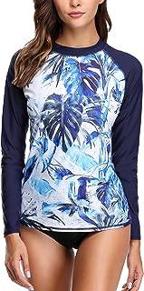 Charmo Women's Sports Long Sleeve Rash Guard Printed Rash Vest Tops Swimsuit UPF 50+