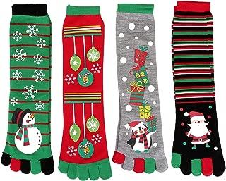 Christmas Socks with Toes Cotton Xmas Five Toes Crew Socks Winter Warm Novelty Holiday Socks