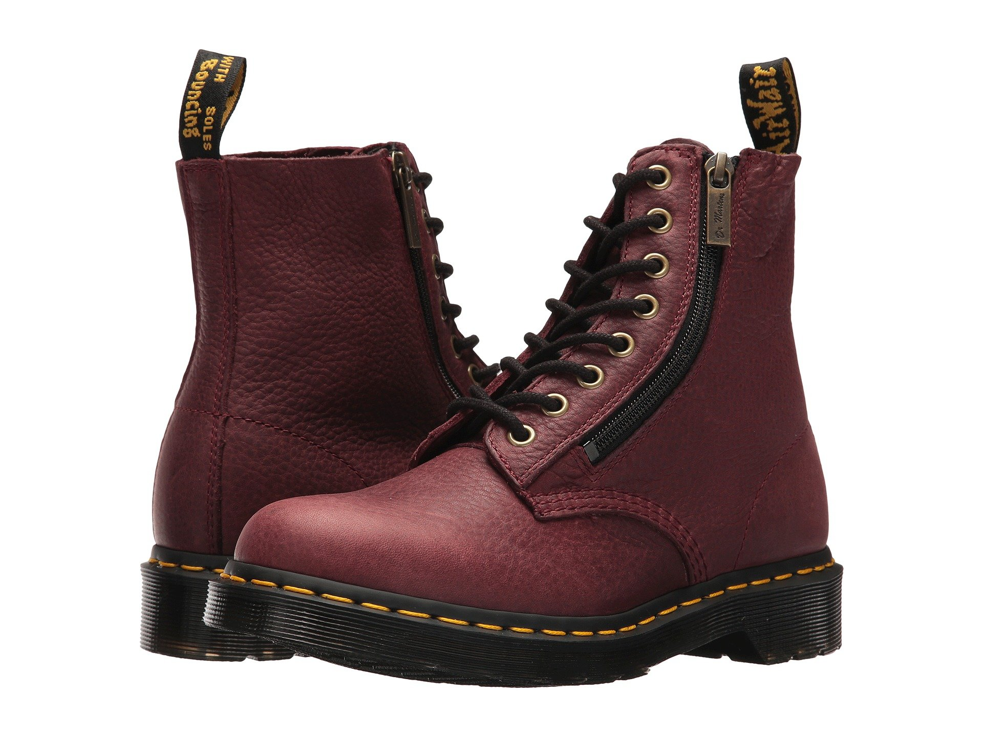 Dr. Martens Women's Pascal w/Zip in Grizzly (Bovine) Leather Fashion Boot