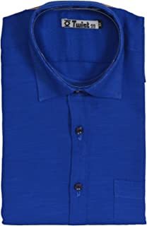 Champa Men's Solid Royal Blue Cotton Linen Half Sleeve Shirt