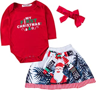My First Christmas Newborn Baby Girl Outfits Red Romper+Santa Claus Printing Skirt+Headband Clothes Sets