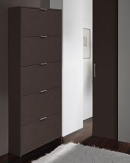 Habitdesign 007815Z - Zapatero de 5 Puertas, Mueble Zapatero Estrecho Dormitorio, Capacidad 15 Pares, Color Café, Dimensiones: 180 x 70 x 17cm Fondo