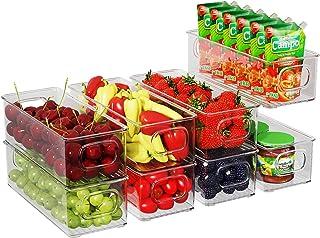 Lot de 8 Boîtes de Rangement Frigo Transparent, Boîte de Conservation des Aliments avec Poignées, Bacs de Rangement Convie...