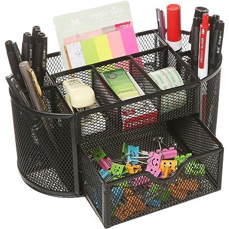 SUKHAD 8 Compartment and 1 Drawer Metal Desk Organizer, 22 X 10.5 X 11 cm, Black