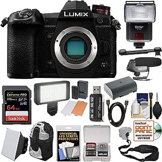 Panasonic Lumix DC-G9 4K Wi-Fi Digital Camera Body with 64GB Card + Battery + Backpack + Flash + Soft Box + Video Light + Mic Kit