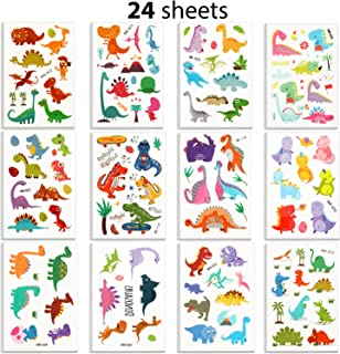 Outus 24 Sheets Dinosaur Temporary Tattoos for Kids, Dinosaur Tattoo Stickers Party Favors for Goodie Bags Birthdays Party Events