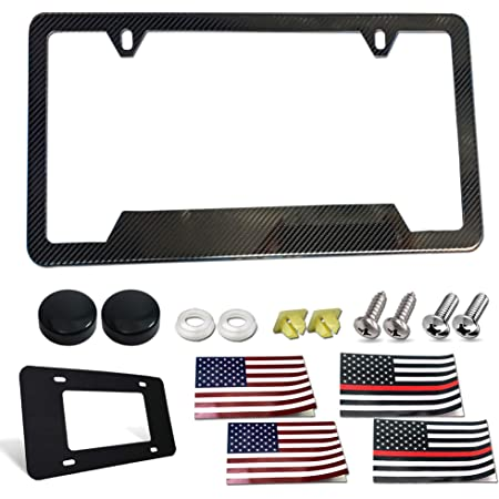 Aootf Stainless Steel License Plate Frame- Heavy Duty Black Carbon Fiber Pattern Car Tag Holder, 1 Pack DIY Personalized Custom Novelty Frame for Front or Rear with Screws Caps, American Flag Decals