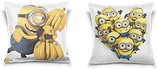 TEVRSTA Minions Throw Pillow Covers Soft Plush Square Pillowcase Set of 2 Decorative Cushion Cover for Sofa Bedroom Car (18