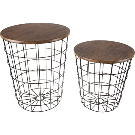Amazon Com Lavish Home 80 Endtbl 2 Set Of 2 Nesting End Storage Convertible Round Metal Basket Wood Veneer Top Accent Side Tables Dark Brown Home Kitchen