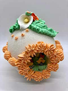 Handcrafted Easter Sugar Egg Decoration - Large Decorative Panoramic Sugar Egg Peach