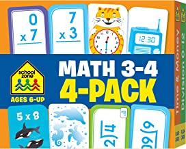 School Zone – Math 3-4 Flash Cards 4 Pack – Ages 6 and Up, 3rd Grade, 4th Grade, Multiplication, Division, Time and Money, and More (Flash Card 4-pk) PDF