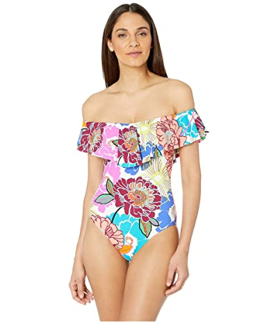 Trina Turk Radiant Blooms Over the Shoulder Bandeau One-Piece (Multicolored) Women