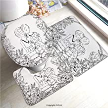 AM24196 Soft Bathroom Rug Mats Set 3 Piece Non-Slip Pads, Bath Mat + Contour + Toilet Lid Cover/Doodle,Girlfriends with Conjoined Ponytails Hugging Friendship Coloring Book Style Design,Black White/