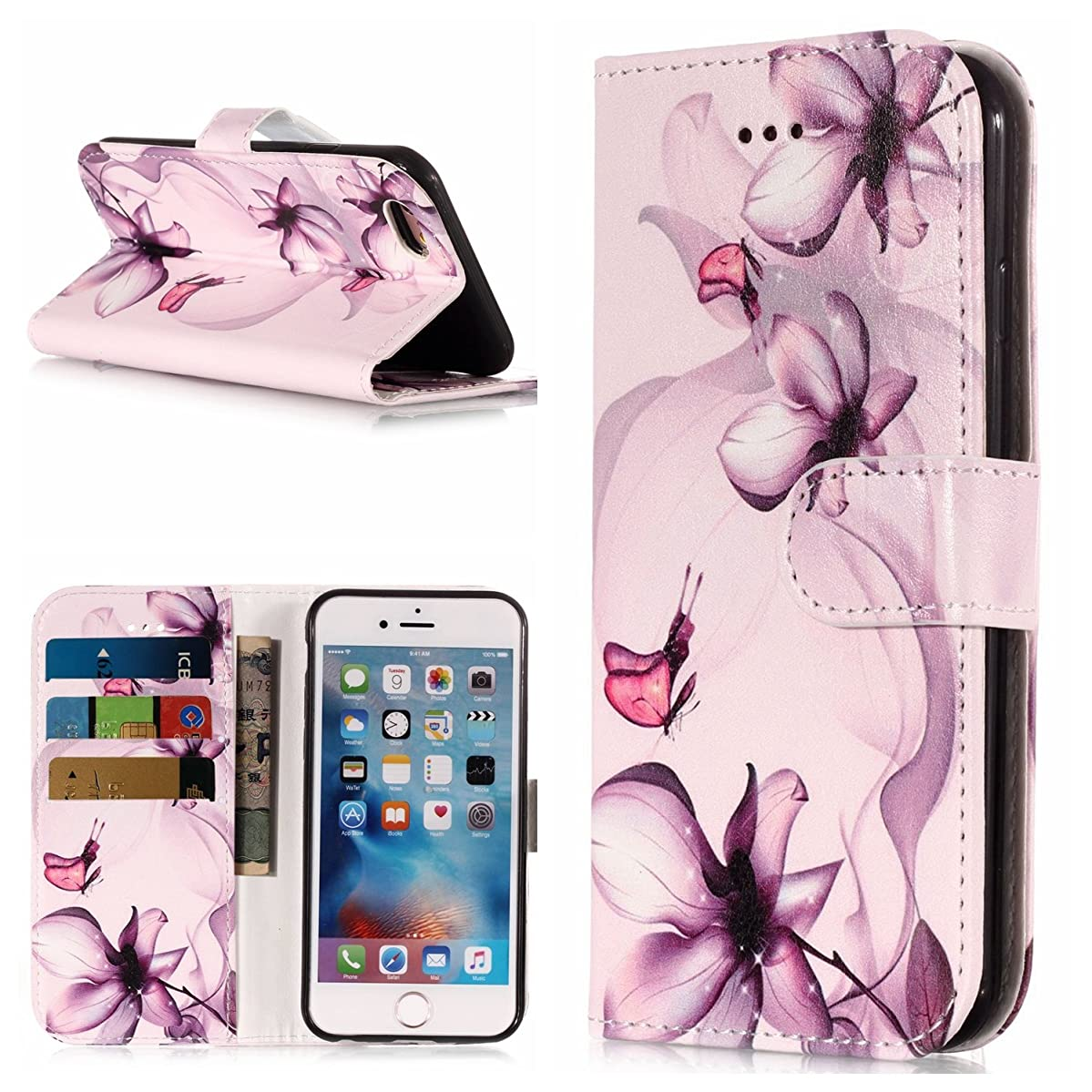 DAMONDY iPhone 6s Plus,iPhone 6 Plus, Shiny Marble Cute Pattern Wallet Purse Credit Card ID Holders Design Flip Leather Cover TPU Soft Bumper Kickstand Magnetic for iPhone 6/6s Plus-dream flower
