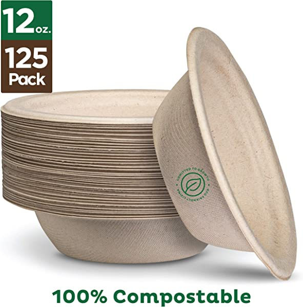 100 Compostable 12 Oz Paper Bowls 125 Pack Heavy Duty Quality Natural Disposable Bagasse Eco Friendly Biodegradable Made Of Sugar Cane Fibers