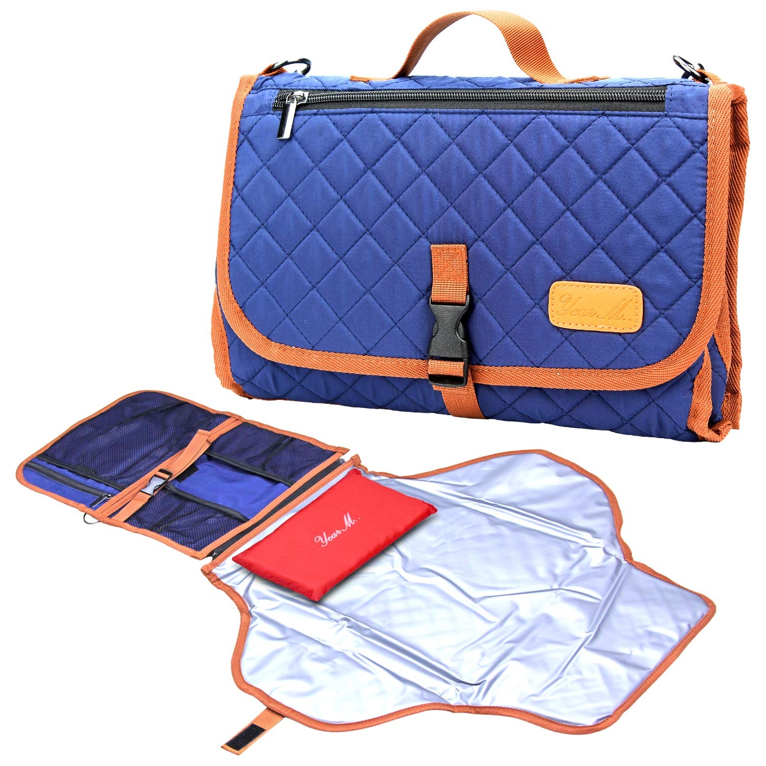 Portable Diaper Changing Pad Built-in Head Cushion Waterproof Baby Travel Changing Station (Blue), YearM.