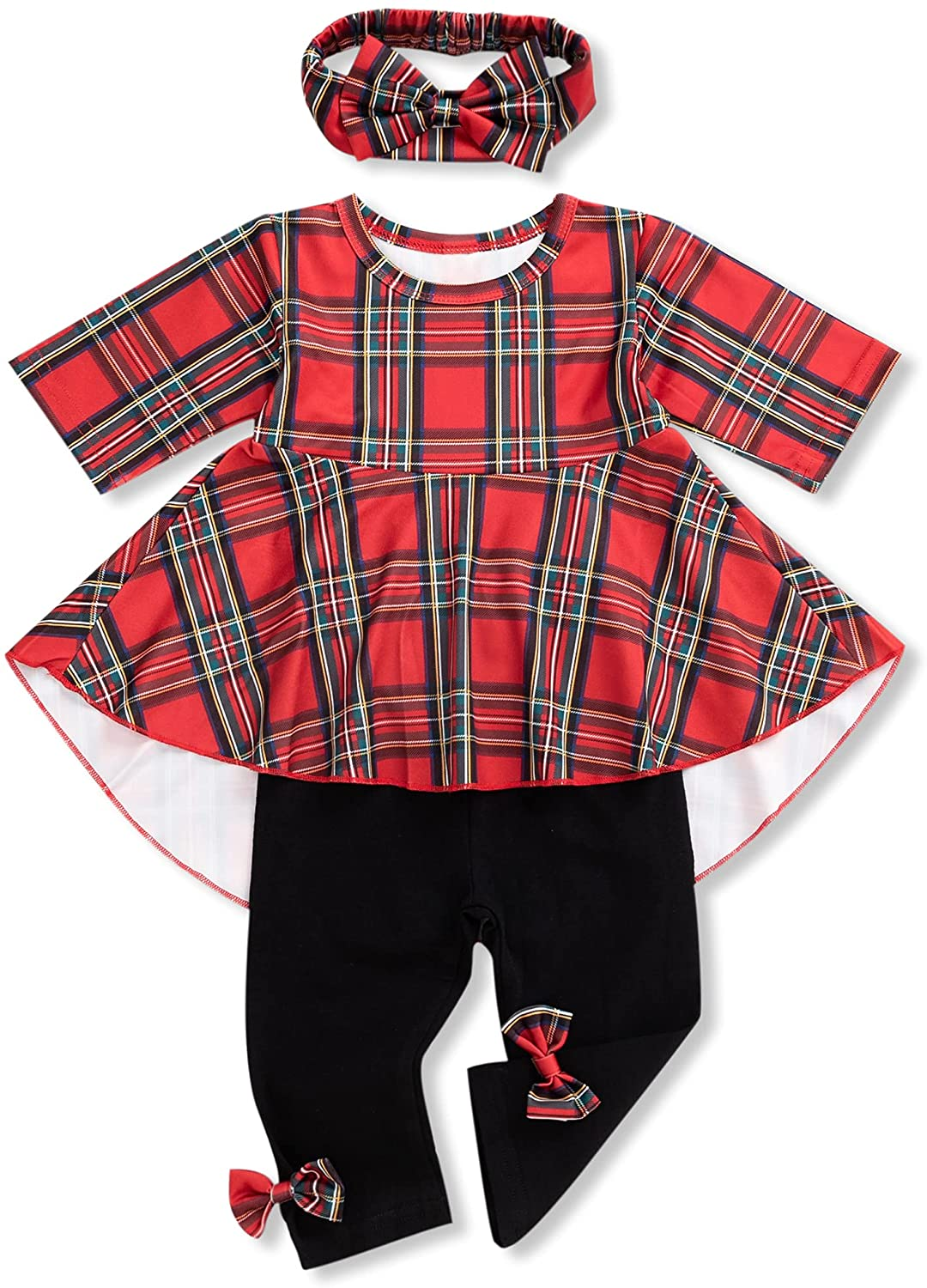 Toddler Girl Fall Clothes Infant Baby Girls Outfit Kids Winter Floral Buffalo Plaid Boutique Tunic Tops Pants Set