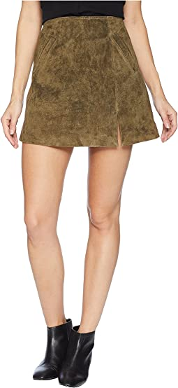 Olive Green Mini Skirt with Side Slit in Bank Roll