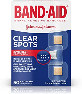 Band-Aid Brand Clear Spots Bandages for Discreet First Aid, All One Size, 50 ct(Pack of 6)