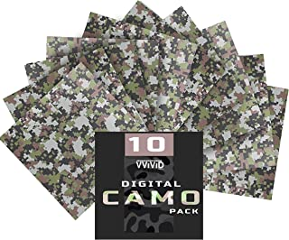 VViViD Camouflage Self-Adhesive Craft Vinyl 12 Inches x 12 Inches Sheet 10-Pack Bundle (Digital Camouflage)