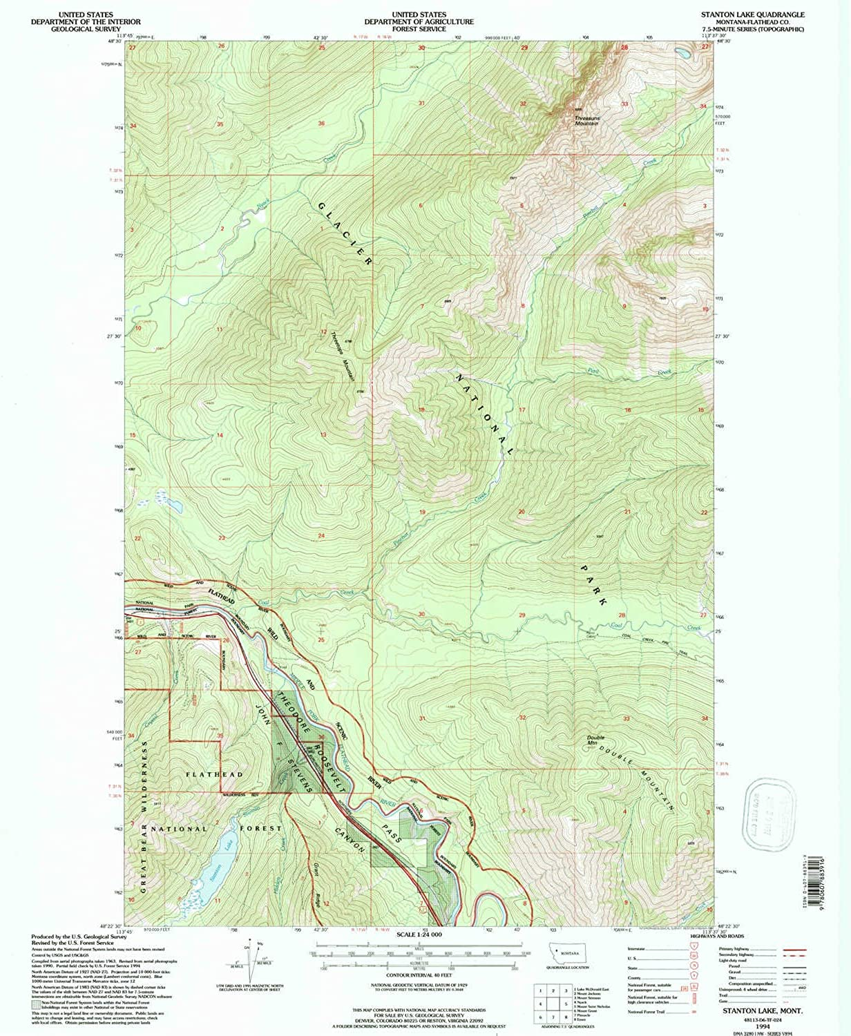 Stanton Lake MT topo map, 1 24000 Scale, 7.5 X 7.5 Minute, Historical, 1994, Updated 1997, 26.9 x 22.2 in