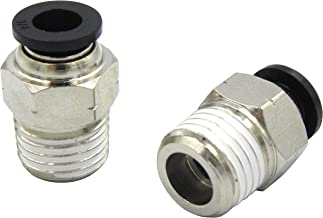 """Wanm Pneumatic Round Male Straight - 3/8"""" Tube OD x 1/4"""" Inch NPT Thread Push to Connect Tube Fittings (10 per Pcak)"""