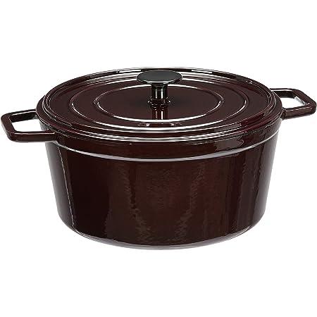 Amazon Basics Enameled Cast Iron Round Dutch Oven, 5-Quart, Deep Cranberry