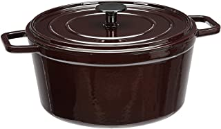 AmazonBasics Premium Enameled Cast Iron Dutch Oven, 5-Quart, Deep Cranberry