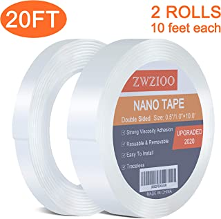 Nano Double Sided Tape, Gel Grip Tape Removable Transparent Sticky Tape, Reusable Traceless Mounting Adhesive Tape for Carpet Fixed Festival Home Office Car Decor (2Roll, 0.5?×10' / 1?×10')
