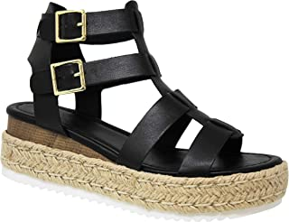 MVE Shoes Women's Ankle Strap Open Toe Summer Cork Flatform Sandal